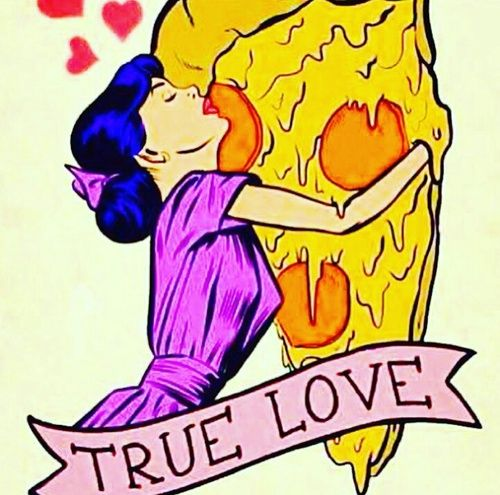 Imagem de pizza, love, and food