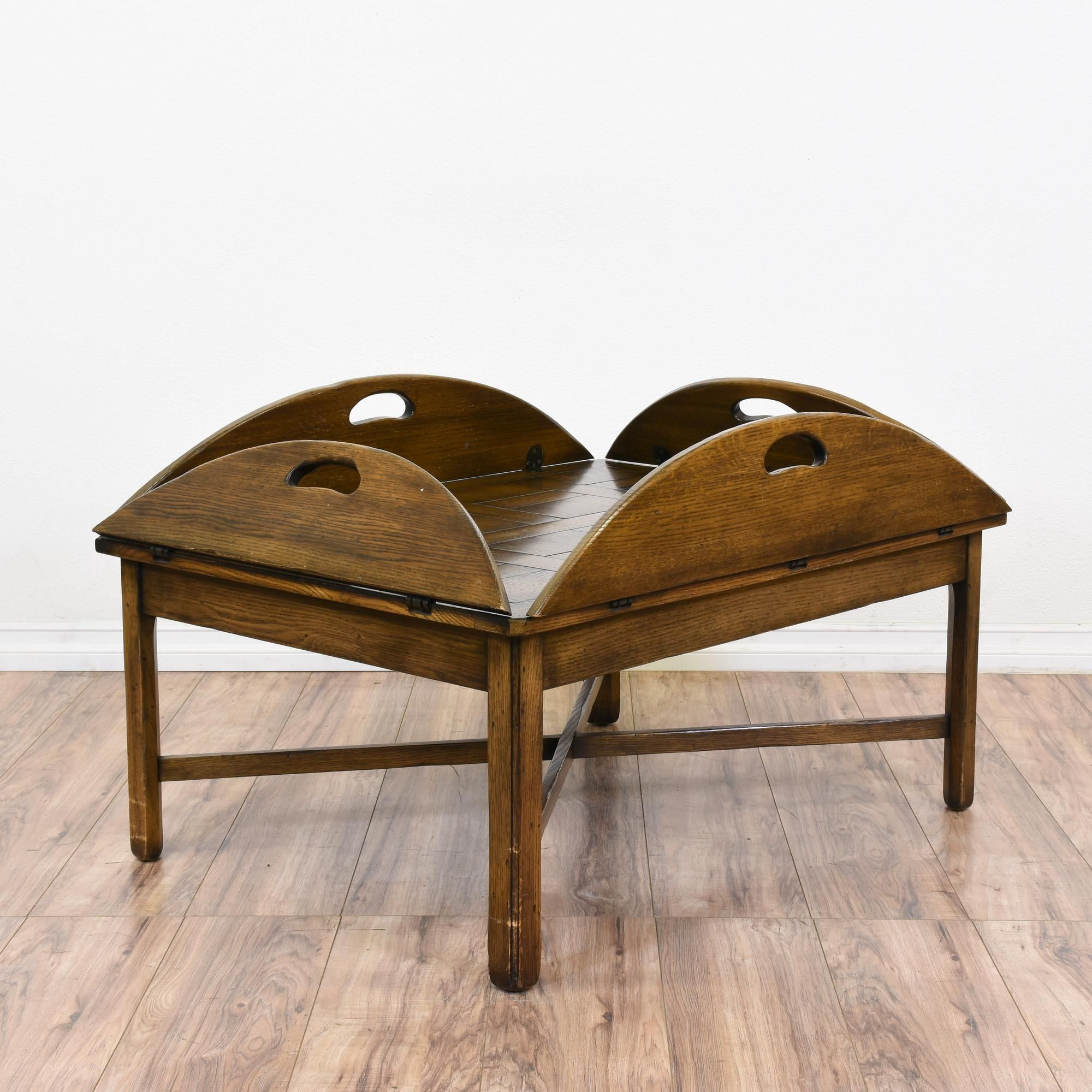 This Drop Leaf Coffee Table Is Featured In A Solid Wood With Glossy Walnut Finish Good Condition 4 Curved Side Leaves