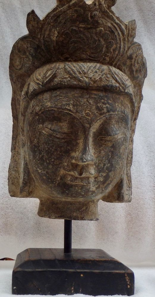 Antique life size stone carved head bali far east