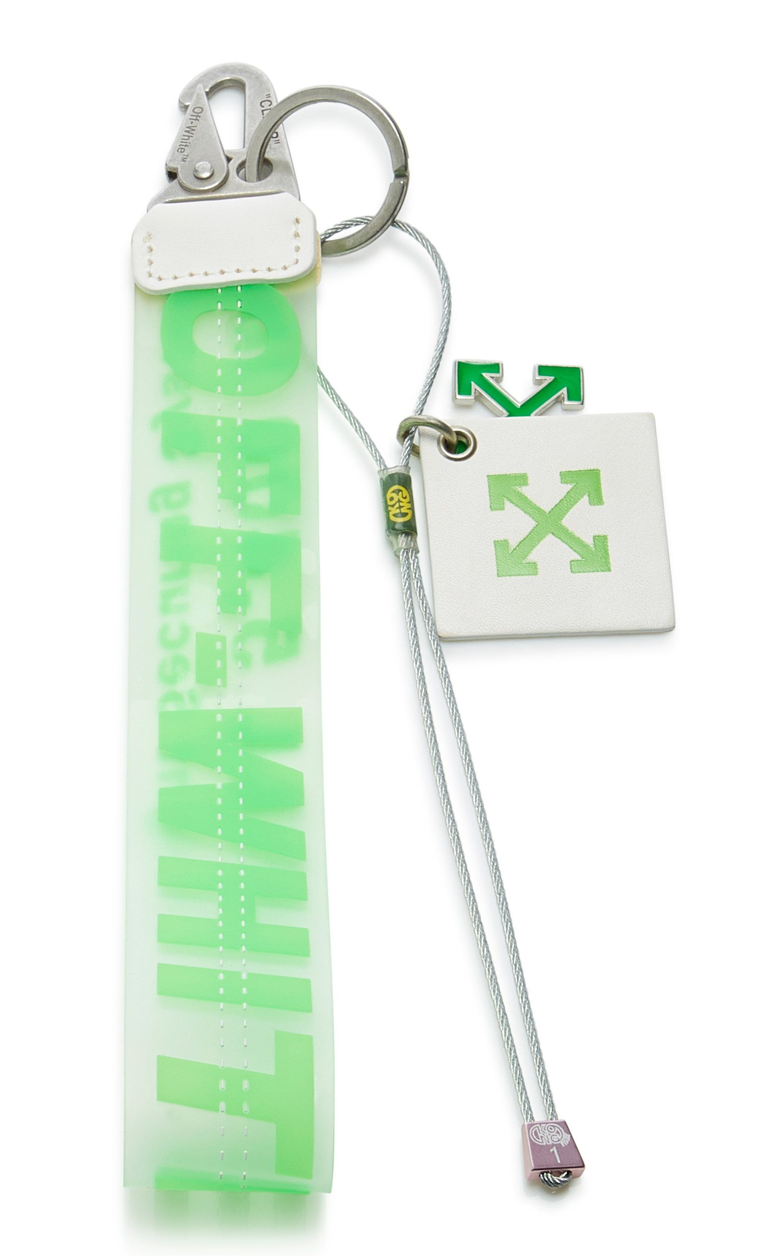 Off White Leather Trimmed Logo Embossed Pvc Key Fob In Green