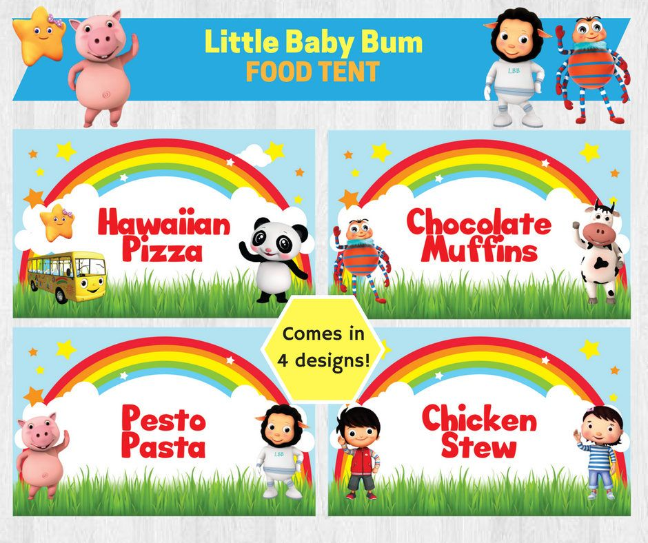 Little Baby Bum Birthday Party Food Tent Label/ Food Label