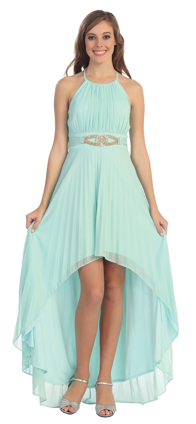 Mint High Low Chiffon Semi Formal Cruise Dress Halter Strap $117.99 ...