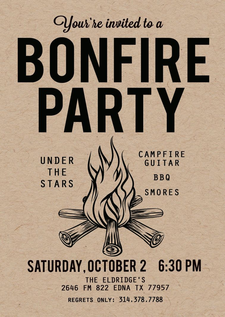 Handmade Downloadable Party Invitations For The Great Spring Campout