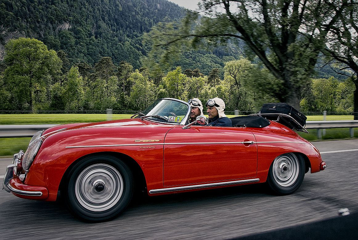 May 2008. At the German autobahn on the way to Brescia, Italy. To the Mille Miglia 2008. Marcel van der Meer behind the wheel. Photo: David Featherston.