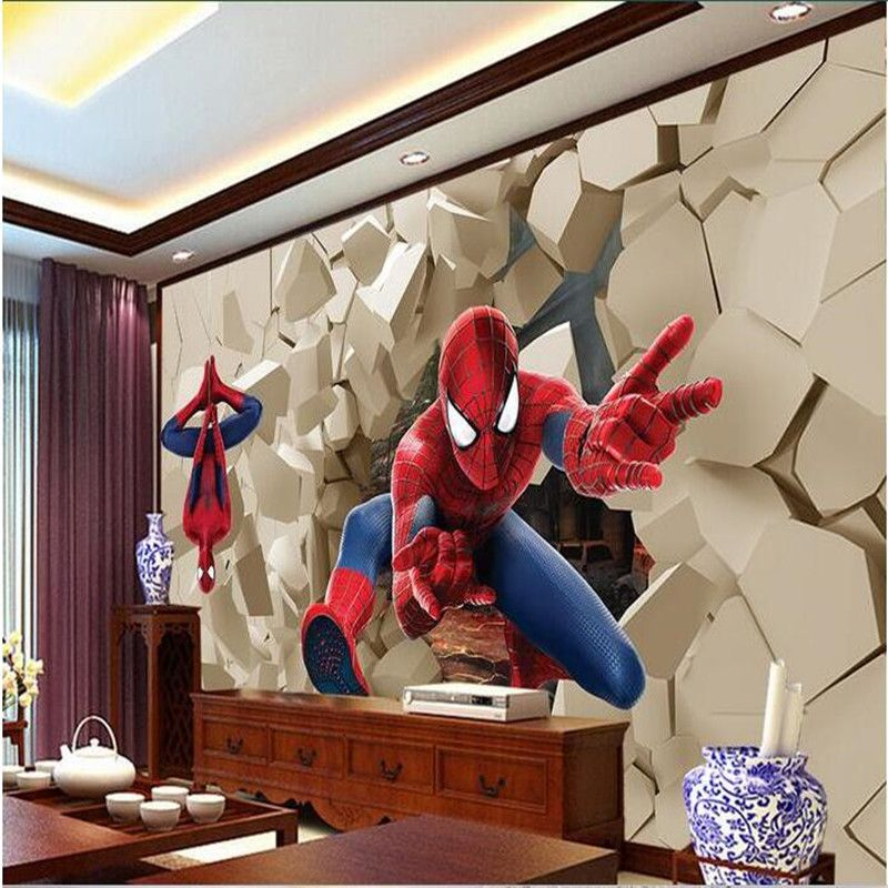 3d Large Wall Wallpaper Mural Hd Hero Spiderman Wall Poqiang Visual