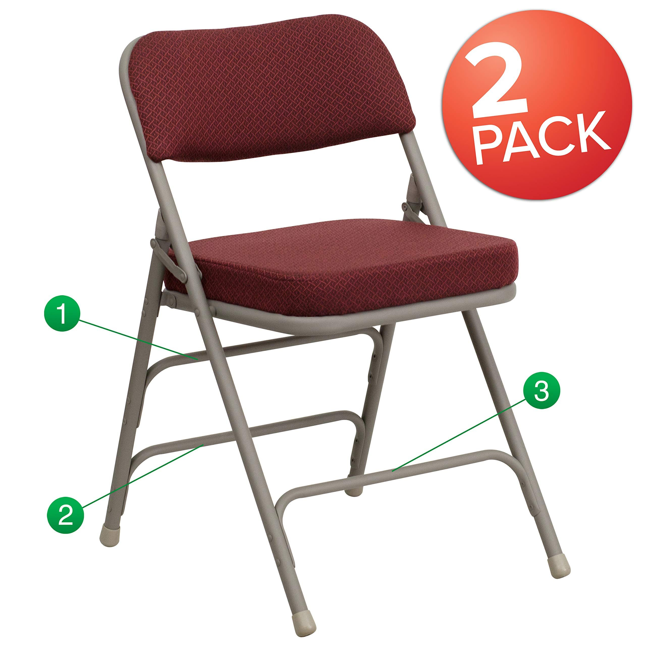 Flash Furniture 2 Pk Hercules Series Premium Curved Triple Braced Amp Double Hinged Burgundy Fabric Metal Folding Chair Metal Folding Chairs Flash Furniture