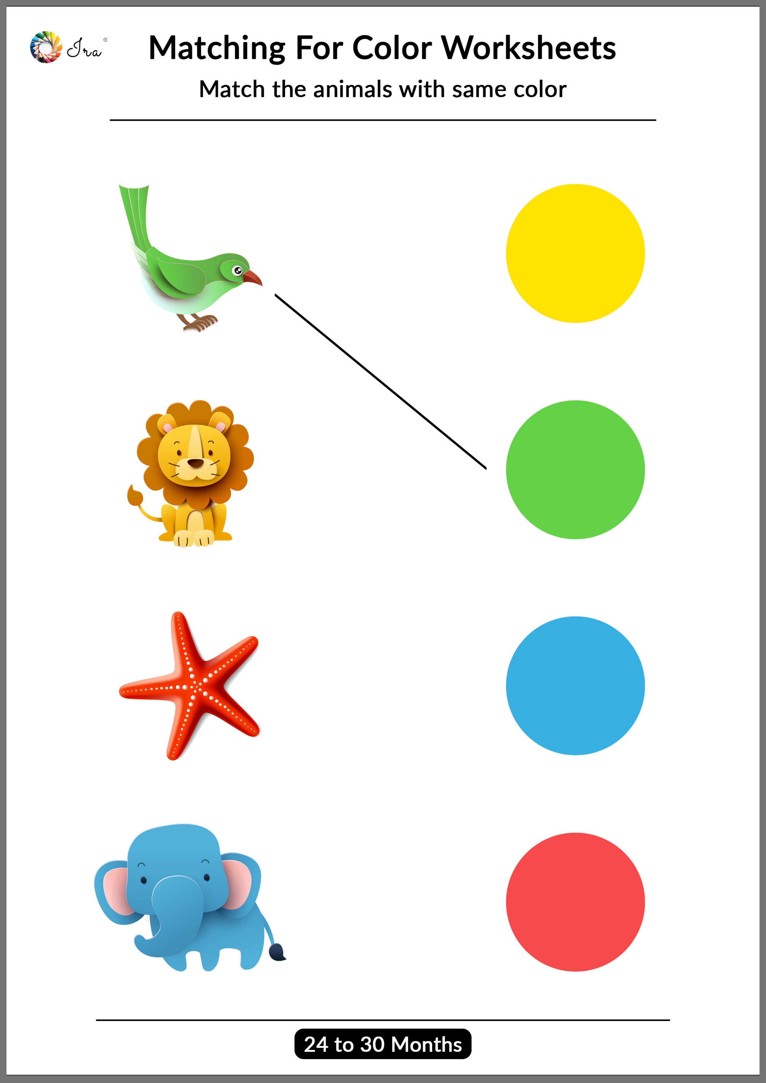 Printable Matching Colors Worksheets 24 30 Months