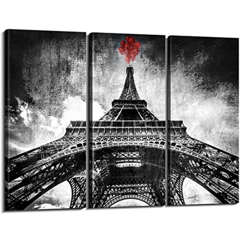 41d6482f5b4f Canvas Print Home Kitchen Wall Décor Art Paris Black and White Eiffel  Tower with