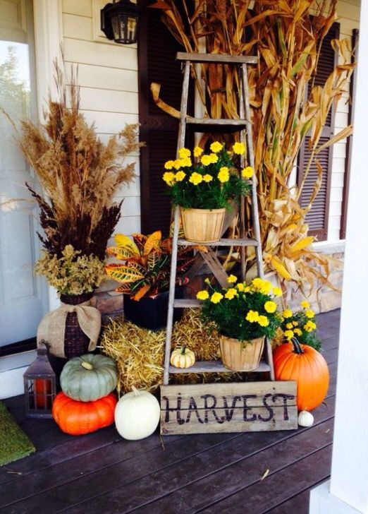 Fall and ladders Fall porch decorations Lauren B Montana