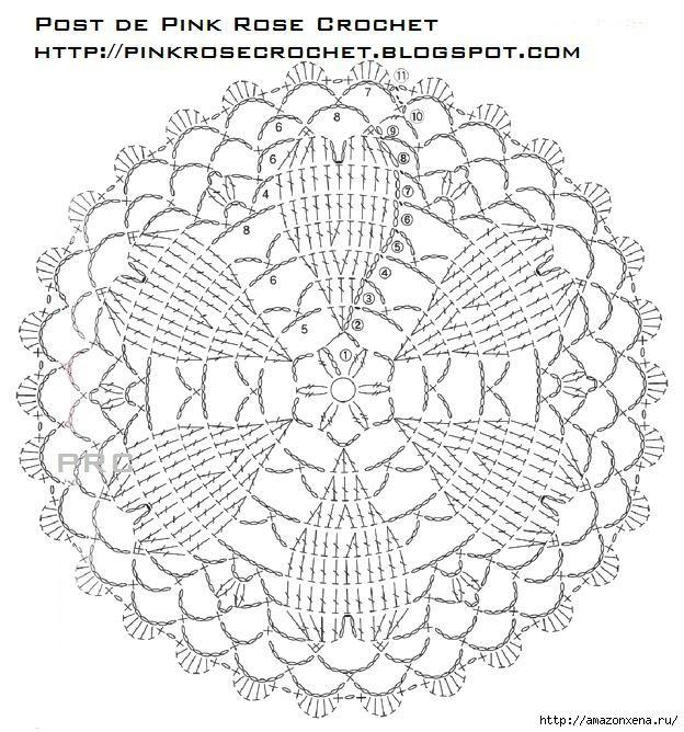 Crochet Herzen. safetki Häkeln Schema (5) (624x668, 279Kb) | doilies ...