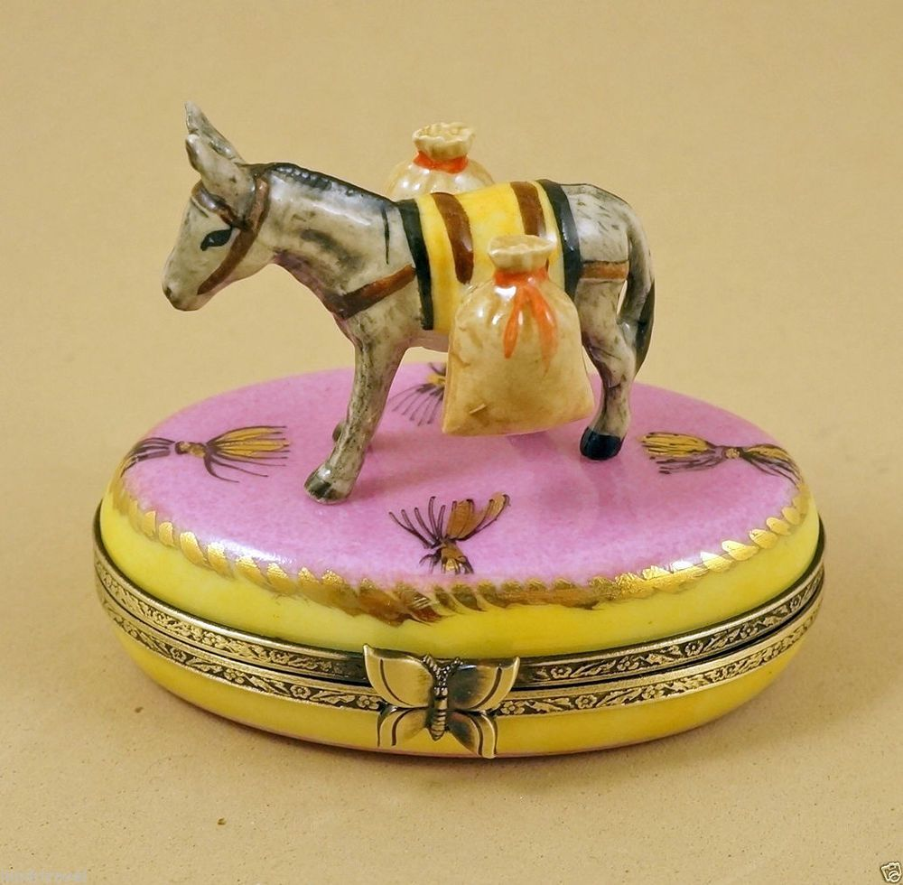 NEW HAND PAINTED FRENCH LIMOGES BOX CUTE DONKEY WITH BAGS ON PINK