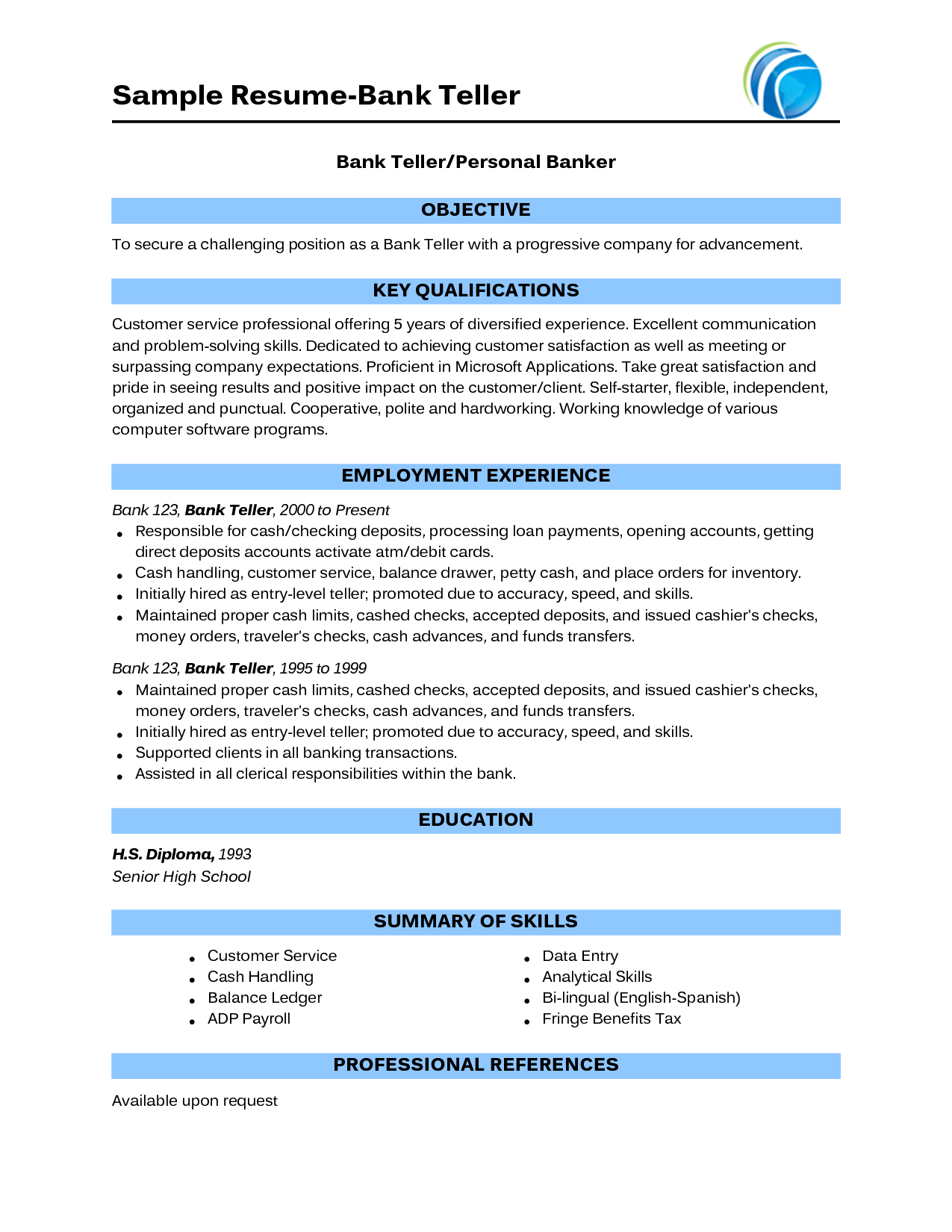 Sample Bank Teller Resume No Experiences Bank Teller Resume Resume No Experience Online Resume