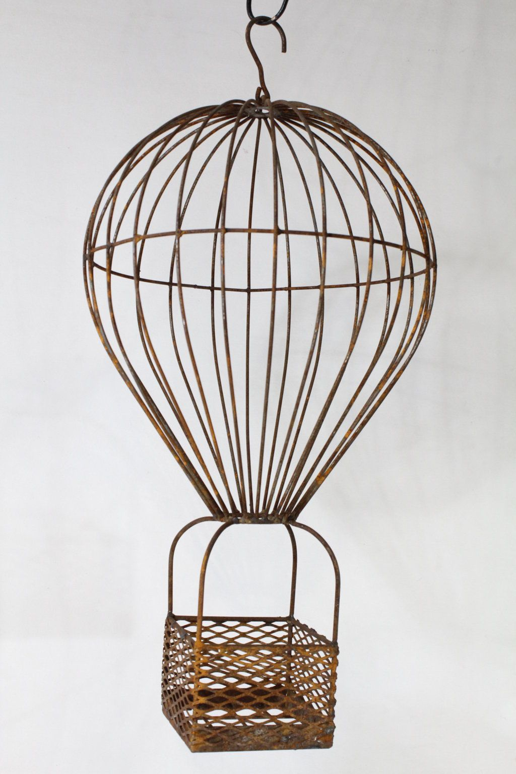 Wrought Iron Small Hot Air Balloon Basket Plant Container ...