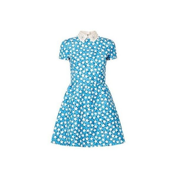 Valentino Studded Leather Collar Star Print Dress (6.590 BRL) ❤ liked on Polyvore featuring dresses, valentino dress, studded dress, structured dress, blue dress and star print dress