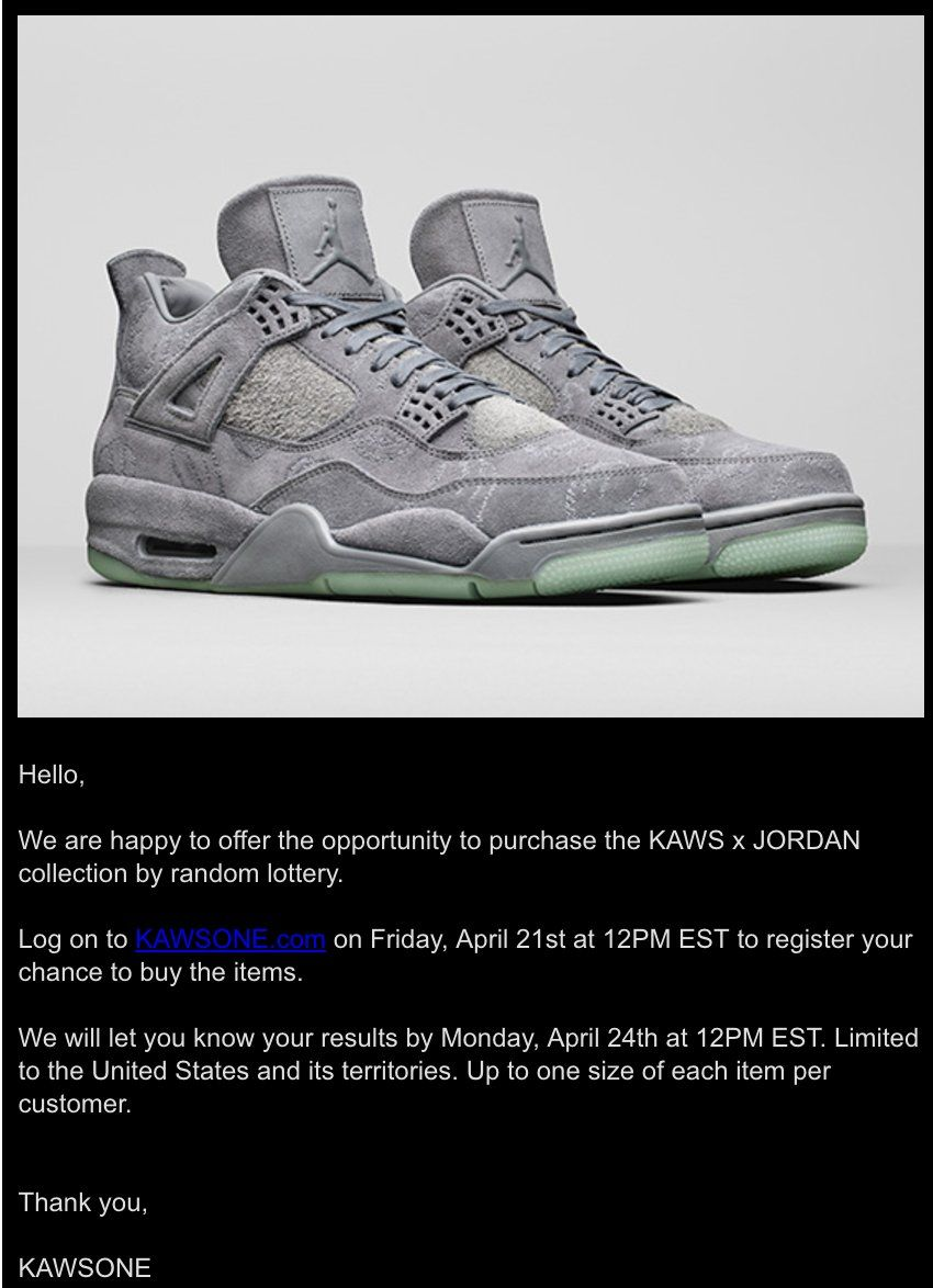 63b3d067e05 ... coupon code for there will be a drawing for the kaws x air jordan 4  tomorrow