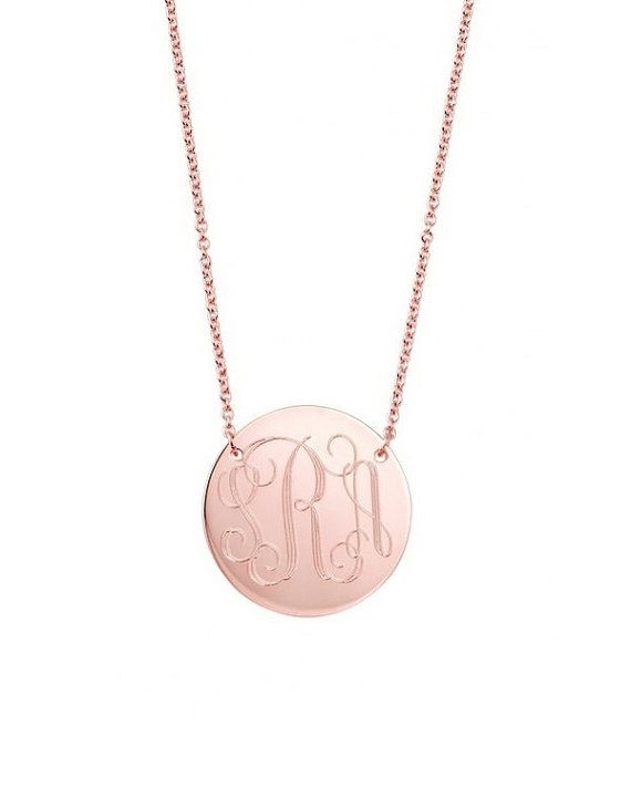 Rose gold monogram necklace two hole 14k rose gold filled pendant rose gold monogram necklace two hole 14k rose gold filled pendant necklace personalized round charm in various diameters bridesmaids aloadofball Gallery
