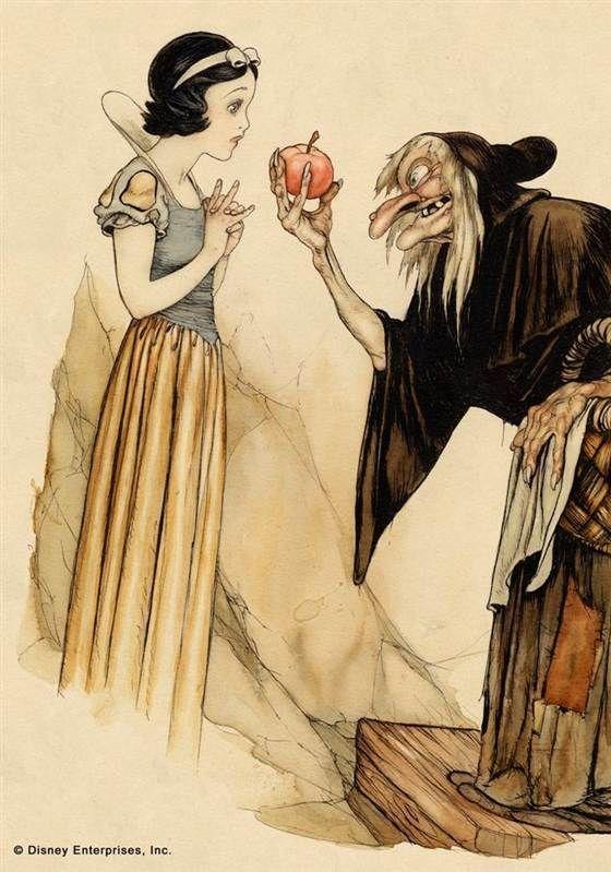 """Gustaf Tenggren, L'ART CONCEPTUEL POUR """"SNOW WHITE AND THE SEVEN DWARFS."""" 1937. Aquarelle et encre sur papier."""