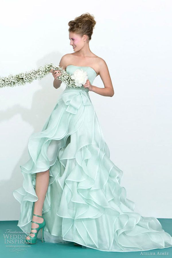 Mint Green Wedding Dress With Cascading Ruffle Perfect For Second Plus Size Bride And Older