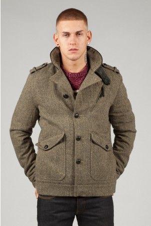 Fly53 Volta brown tweed winter coat jacket