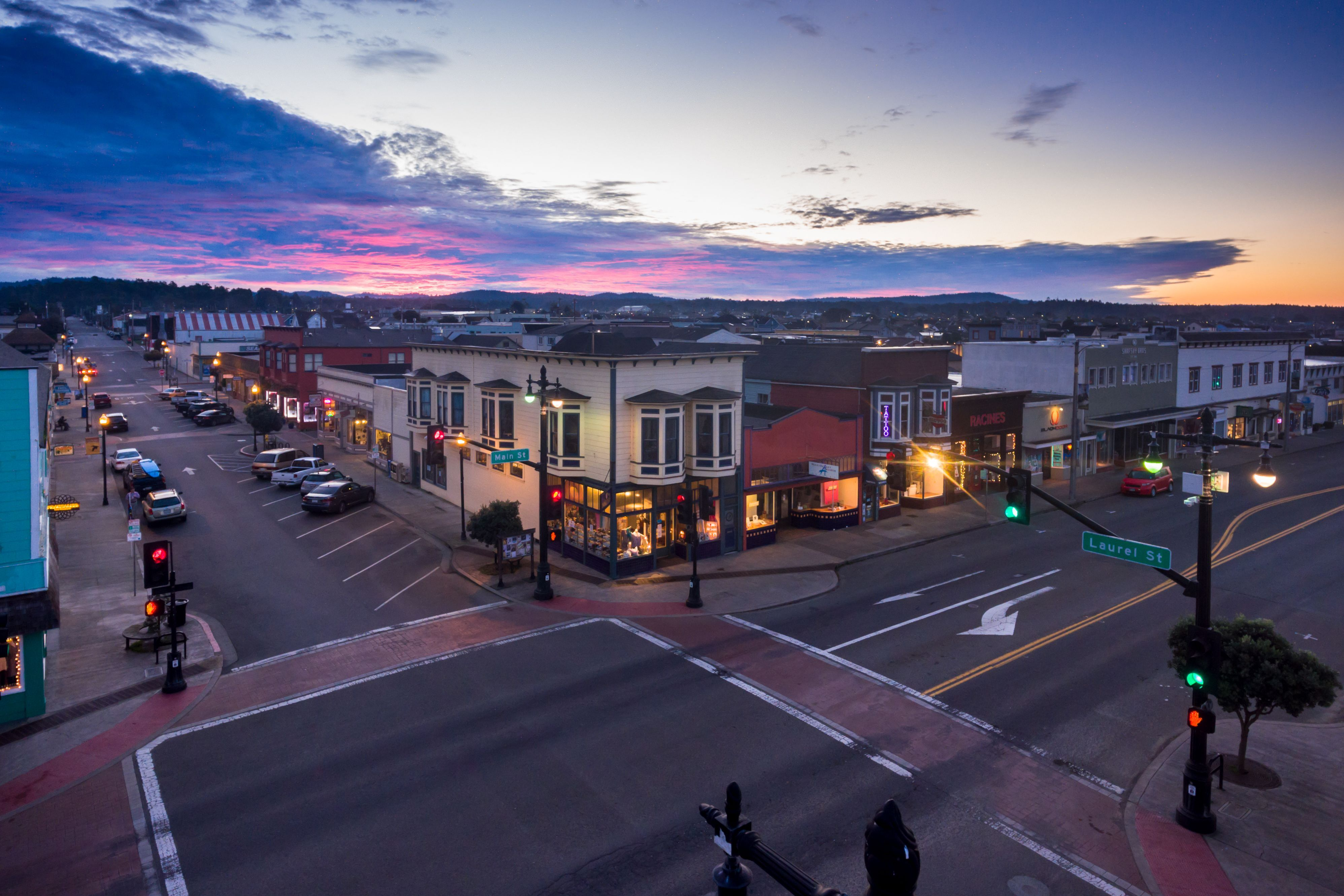 Downtown Fort Bragg Bursting With Vivid Color And Full Of Life