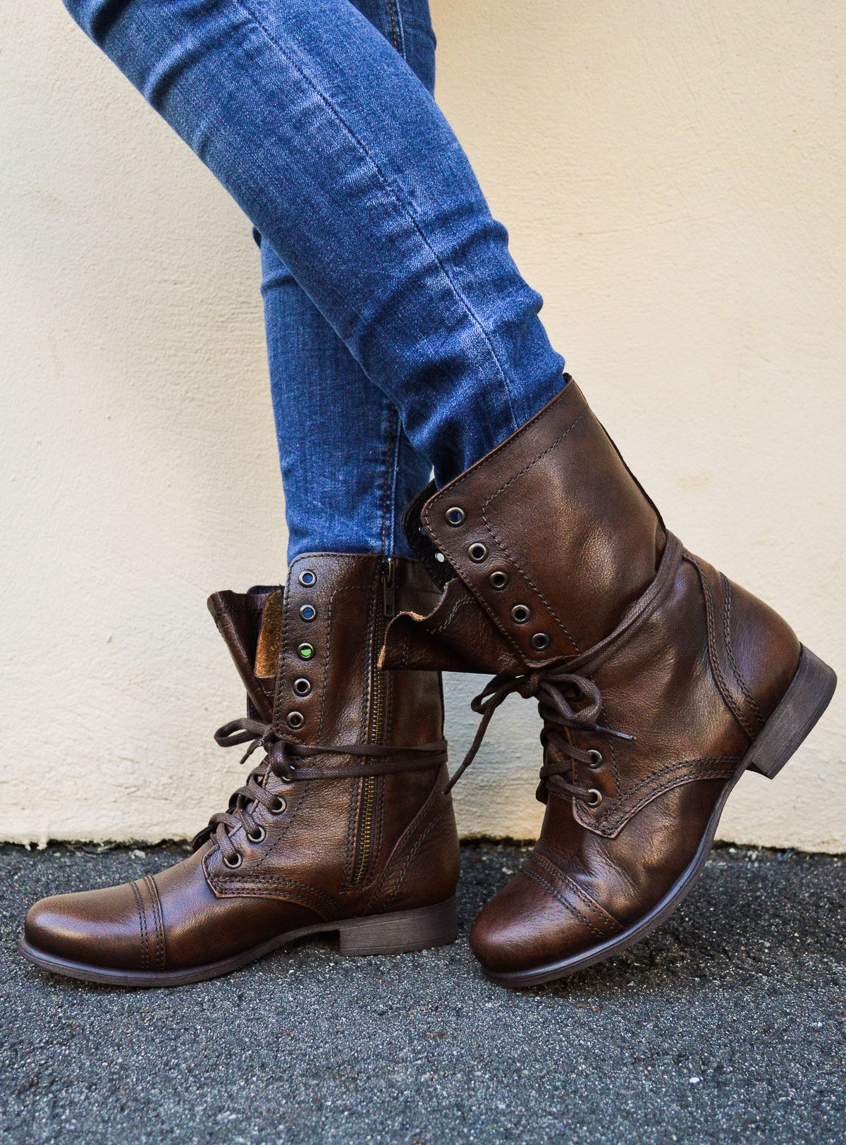 d53df137566 Brown leather steve madden troopa combat boots