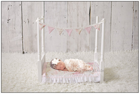 Newborn baby photography prop bed 4 poster antique by kingscloth