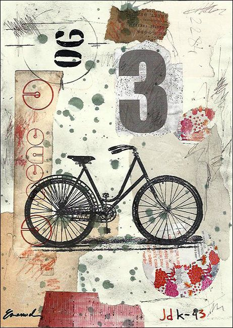 Print Art Poster Collage Abstract Mixed Media Art Painting Illustration Gift Bicycle Autographed by artist Emanuel M. Ologeanu