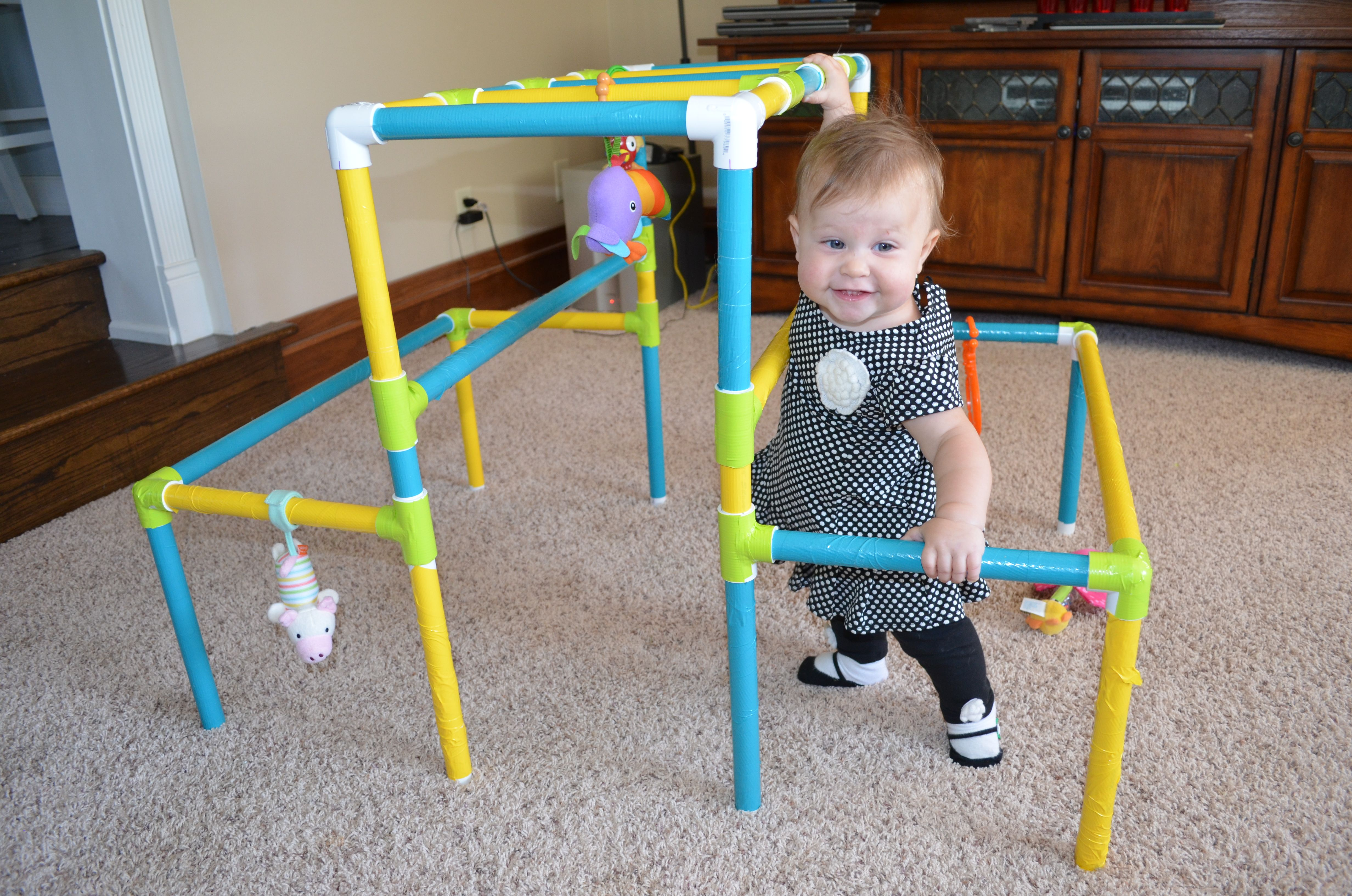 My little one Evie on her homemade DIY indoor jungle gym