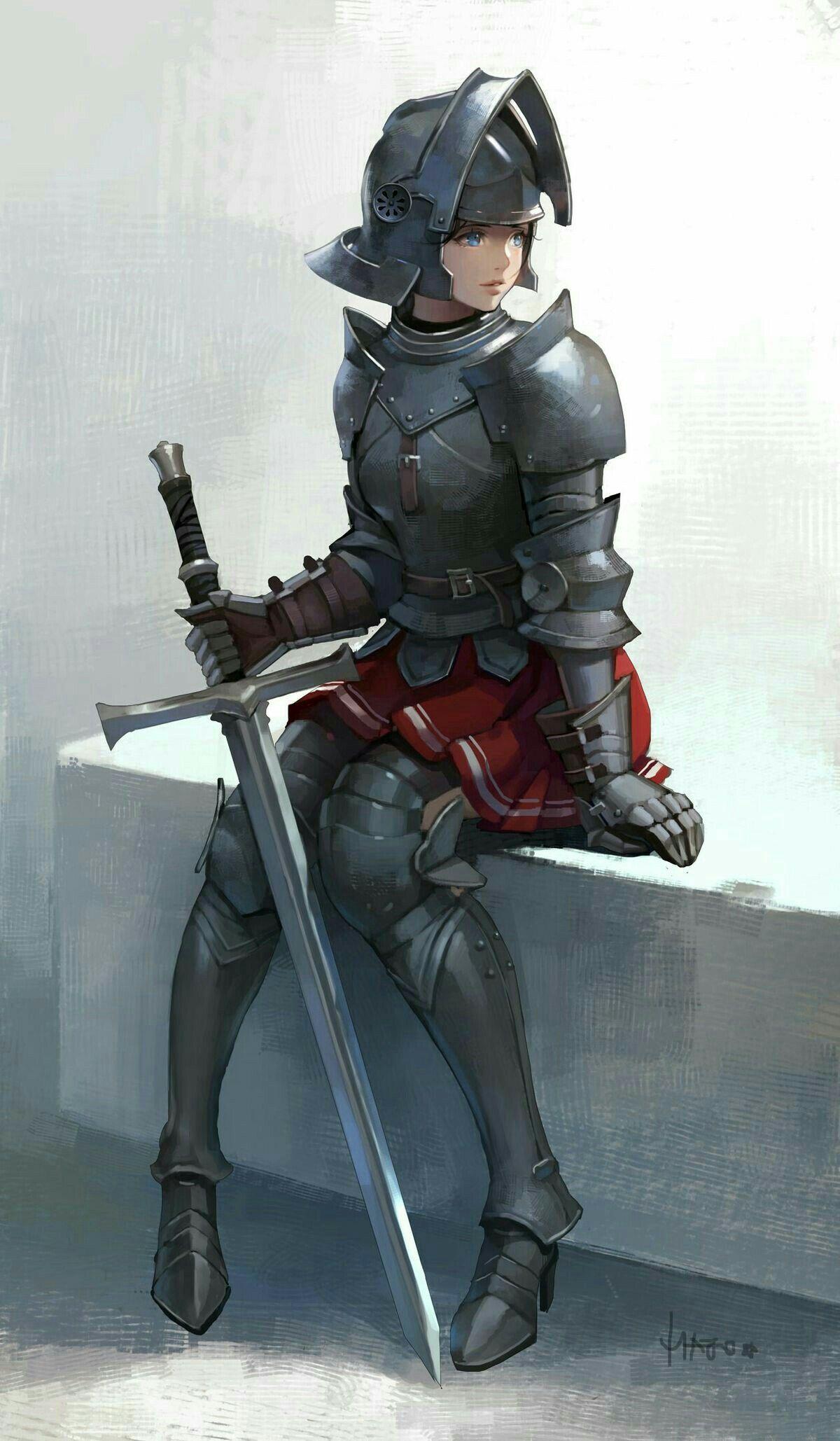 Nameless Character Inspiration Female Knight Sitting Girl
