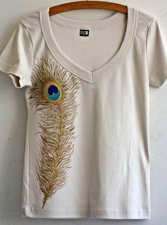 Ecru Women SIZE L Hand Painted Tshirt Peacock Feather Design. $29.80, via  Etsy.