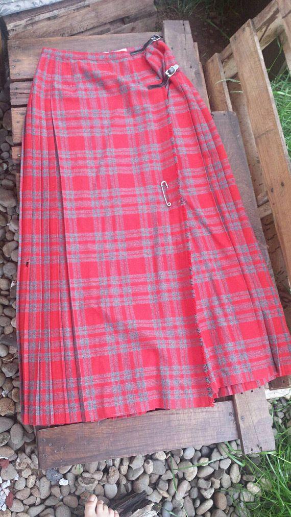 Long red wool kilt/vintage kilt/men\'s kilt/men\'s   vintage clothing ...