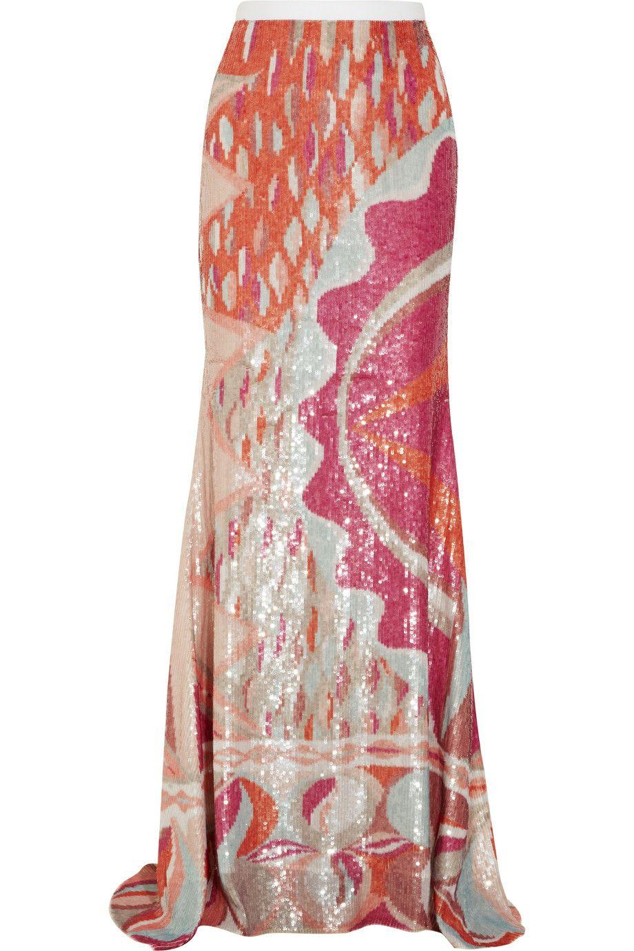 Emilio Pucci | Multicolor Sequined Silk Maxi Skirt | Lyst | Pretty ...
