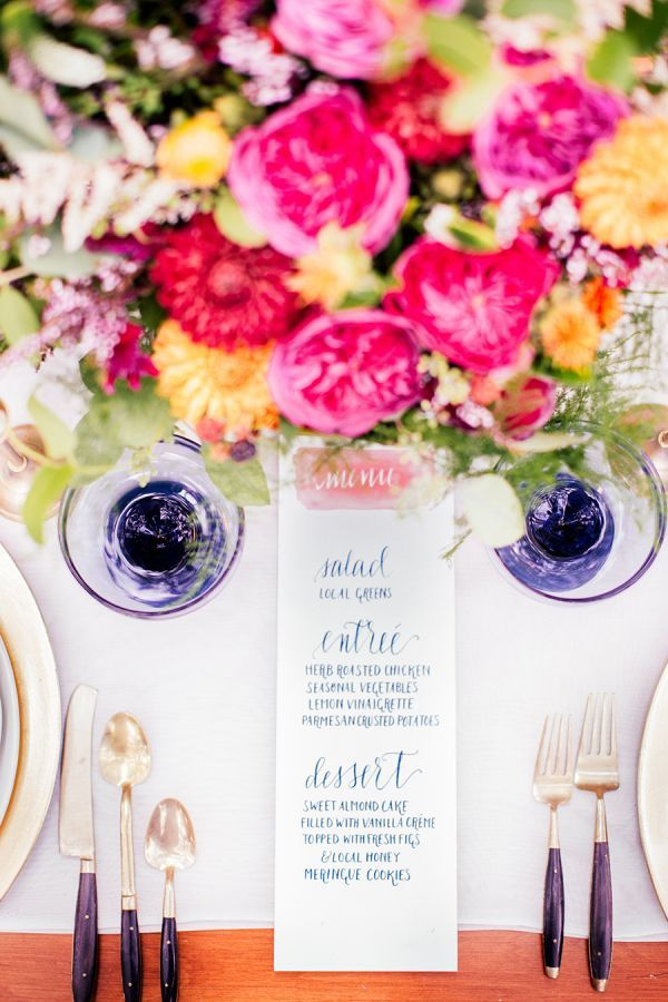 Wedding menu calligraphed by Wave Crest Calligraphy | Photo by Reverie Supply