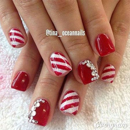 Red Green Gold White Christmas Nail Art Designs Xmas Nails Christmas Nails Christmas Nail Designs