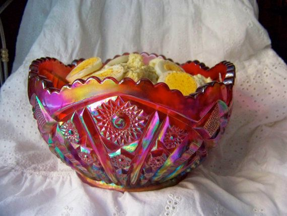 Vintage Carnival Glass Salad Bowl Fruit Bowl Iridescent ...