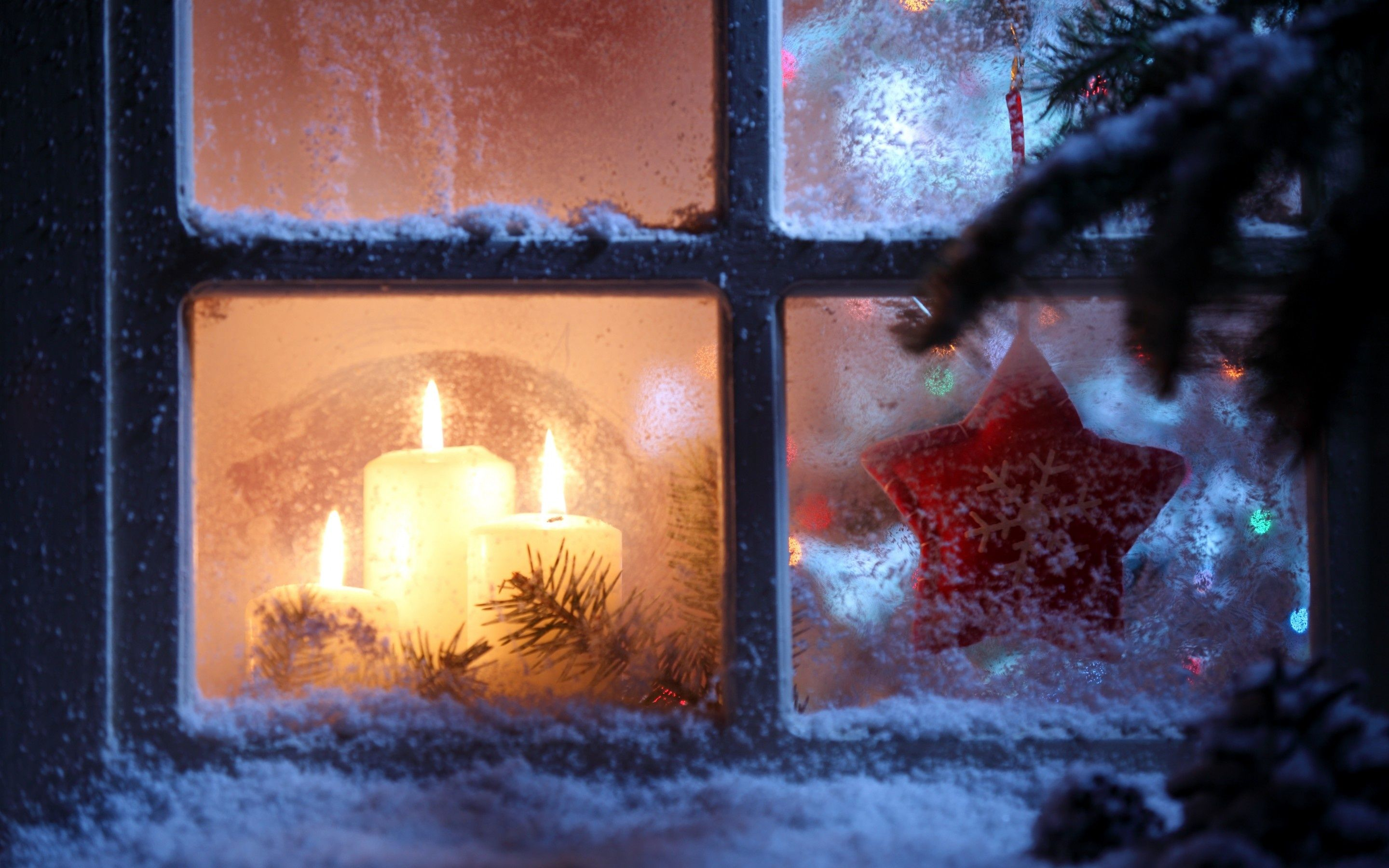 Candles In Frosty Window