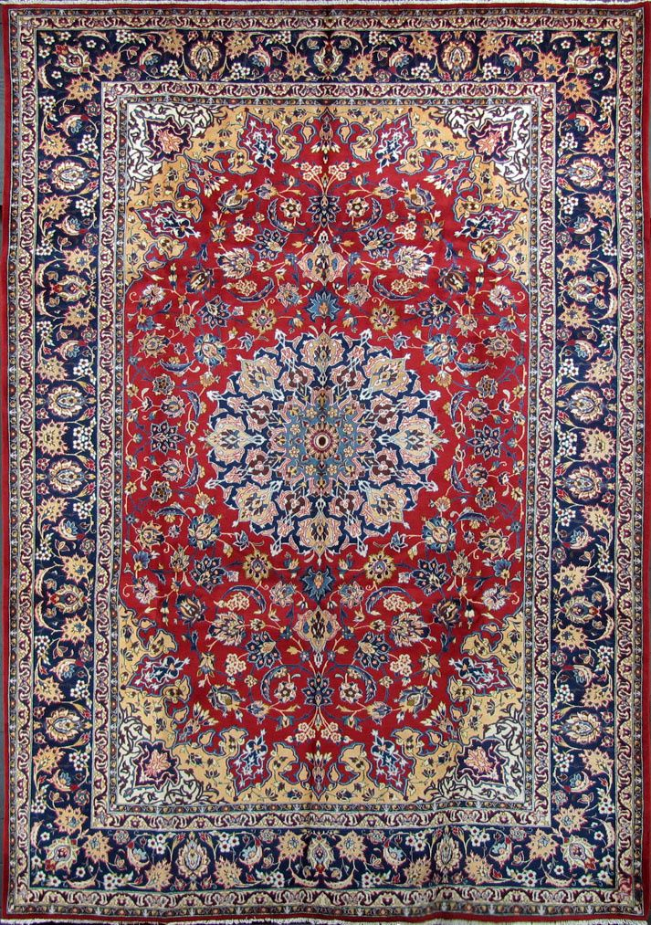 10 X 15 Red Navy Hand Knotted Handmade Wool Persian Area Rug