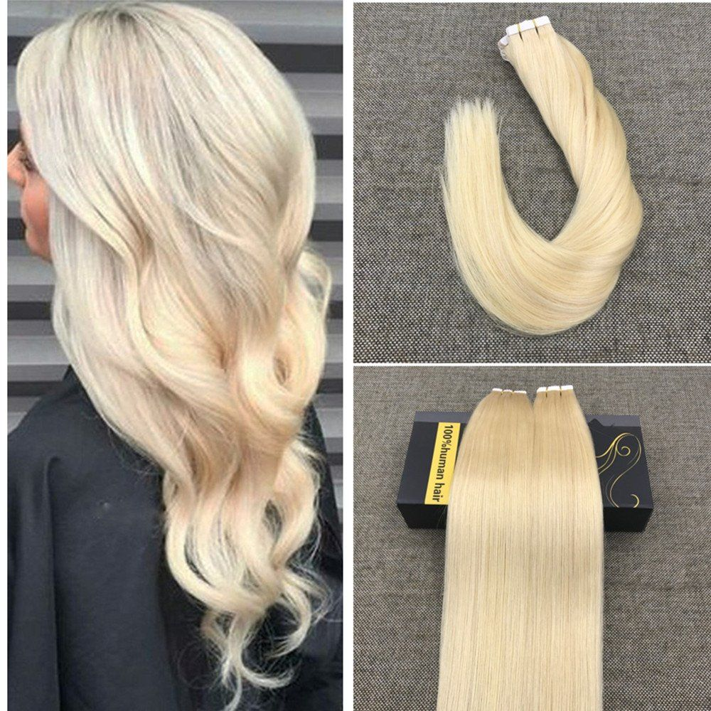 Ugeat 14inch Seamless Tape In Human Hair Extensions Bleach Blonde