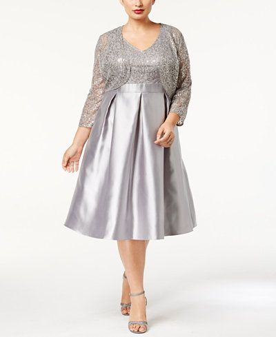 142a880b12a SL Fashions Plus Size Sequined Dress and Jacket