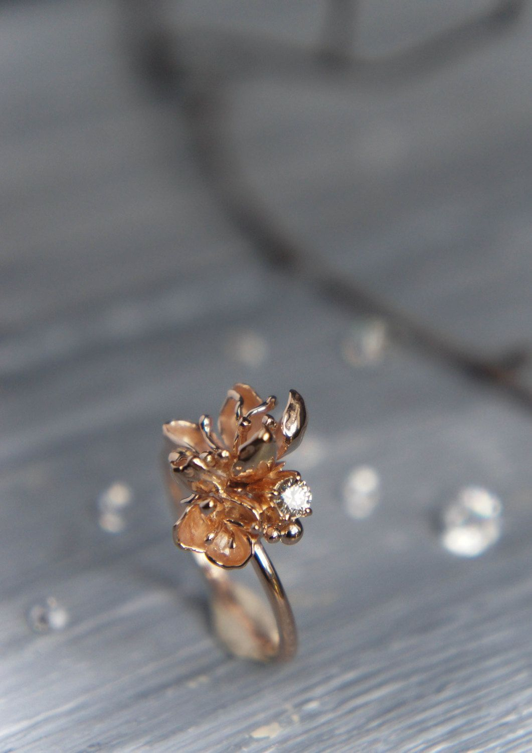 Unique engagement ring 14K rose gold ring diamond ring cherry
