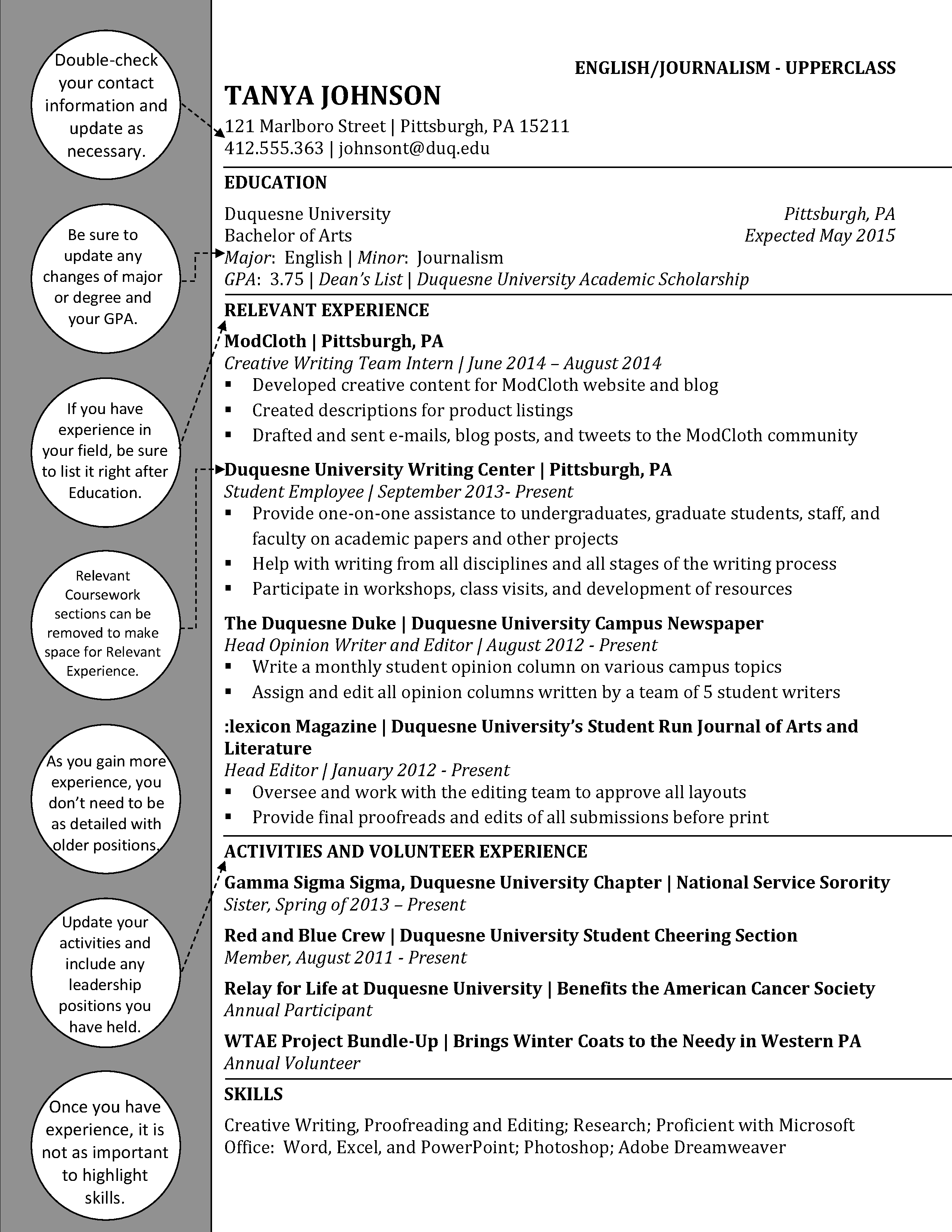 English Upperclass  Duquesne Resume  Cover Letter Examples