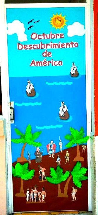 puerta decorada del mes de octubre manualidad october