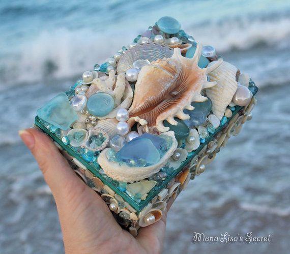 Seashell Seaglass Jewelry Box Beach Style Shell Chest Coastal