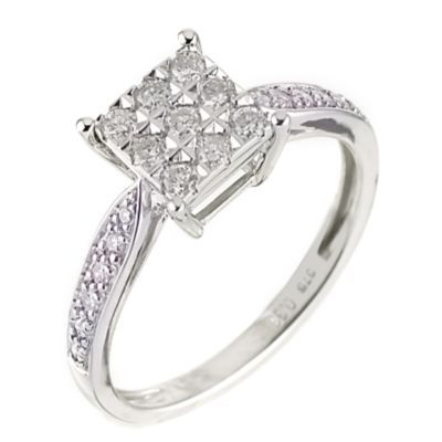 9ct White Gold Third Carat Diamond Cluster Ring White gold