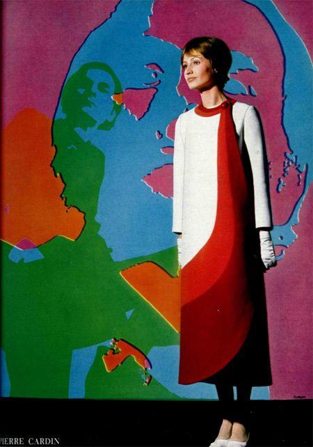 1970 Pierre Cardin rainbow color block space age dress