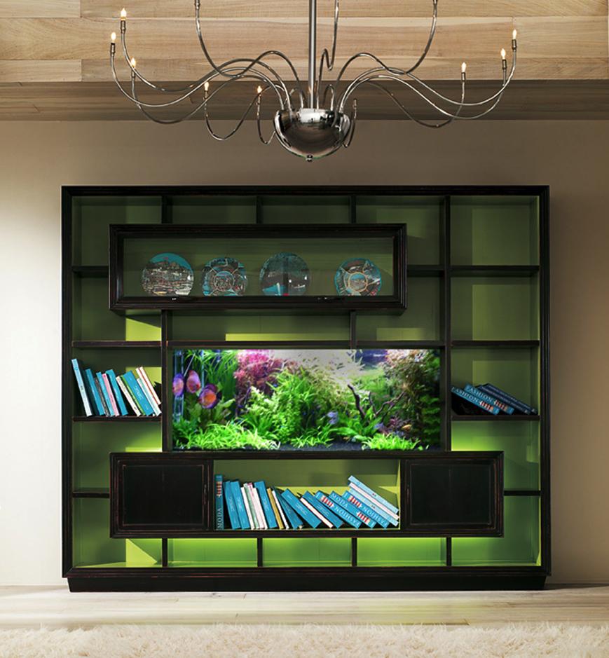 Fish tank for your tv - Built In Bookshelf Fish Tank