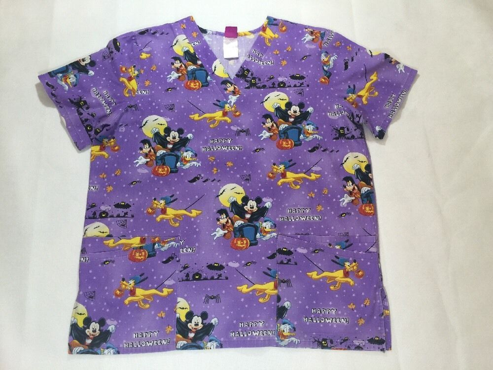 details about disney scrub top happy halloween mickey mouse sz medium purple
