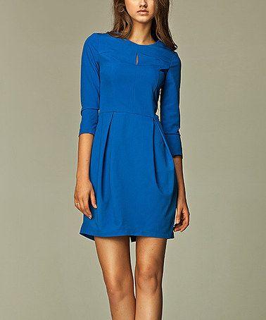 Look at this #zulilyfind! Blue Keyhole Neck Dress #zulilyfinds