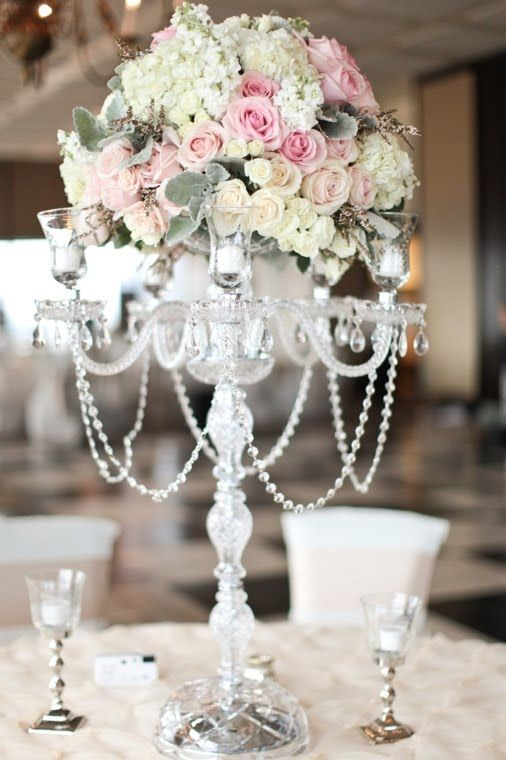 Crystal Candelabra Wedding Rentals Tampa Flower Centerpieces