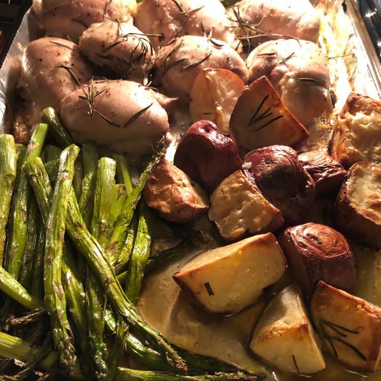 Rosemary Chicken, Asparagus & Potato Sheet Pan Dinner images